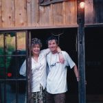 Michel and Jude Fanton at the Permaculture Centre about to teach a Permaculture course in 2000