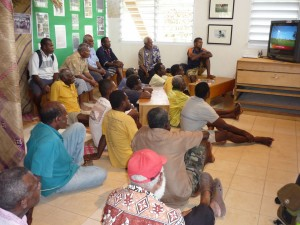 "Showing ""Our Seeds"" to male Cultural Guardians in Museum, Vanuatu, 2008"