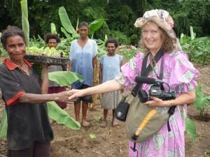 Filming urban gardeners, Port Moresby, Papua New Guinea, 2009