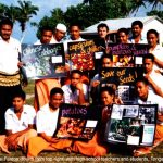 Tonga, 1996. Students of agriculture with Seed Savers posters. Michel top, fourth from right