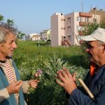 Turkey May 2013. The only common language is the sights and fragrances of the plants: Michel Fanton with a peasant in Cannakale.