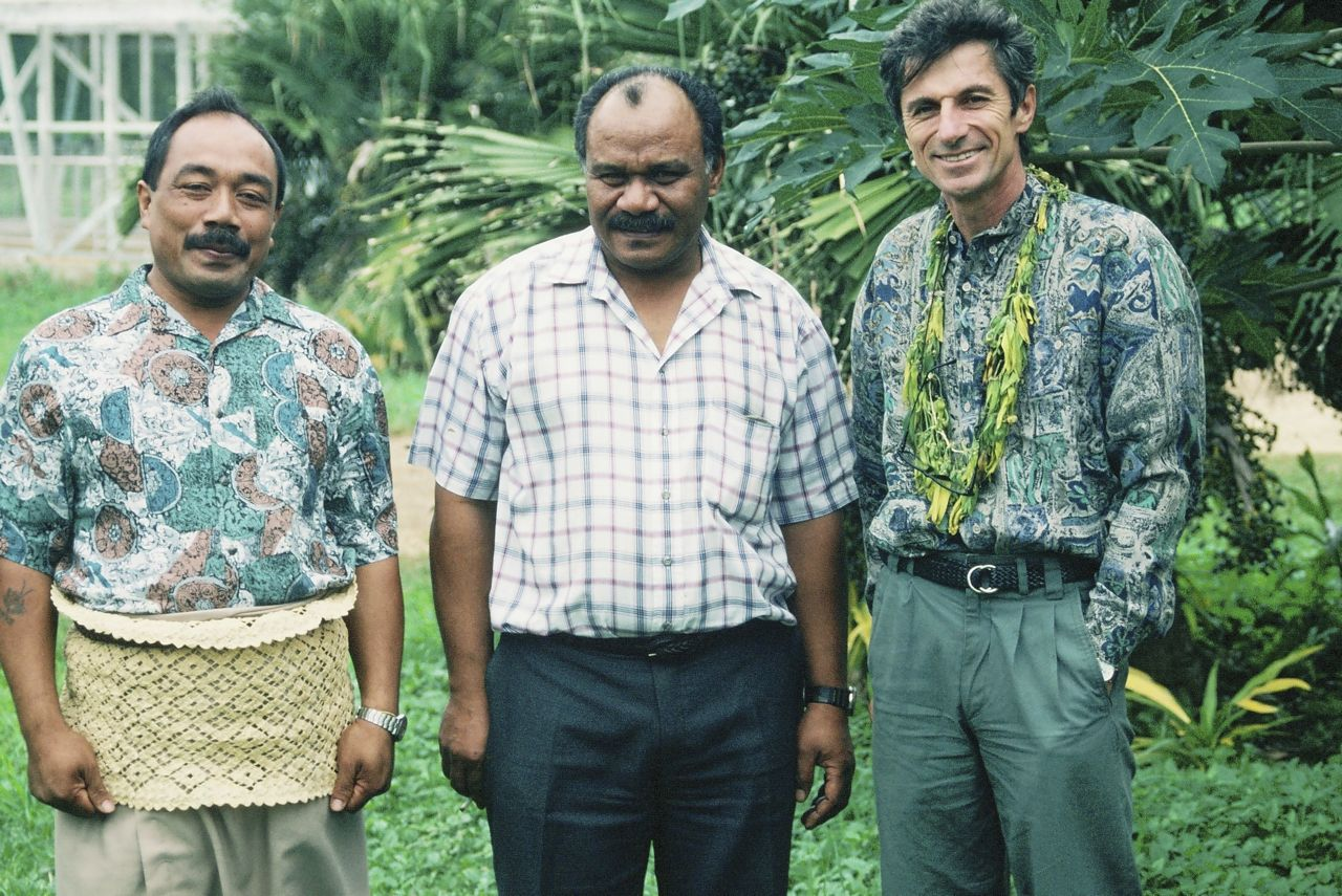 Michel, right, with intern Tevita, left, and Agric Dept official, Tonga, 1996
