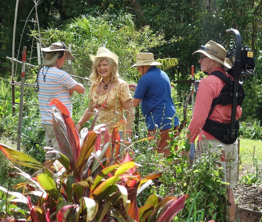 Gardening Australia film crew with Jude Fanton in Seed Savers Garden, November 2013